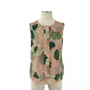 CAbi- Tropical Palm Leaf Blouse Size Small #5351